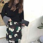 Set: Color Panel Sweater + Floral Print A-Line Dress 1596