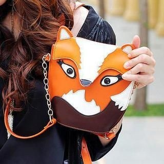Faux-Leather Fox Cross Bag
