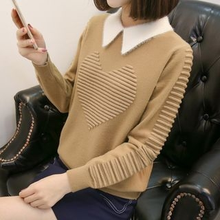 Image For Mock Two-piece Long-Sleeve Knit Top