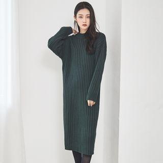 Round-Neck Ribbed Knit Dress 1063492317