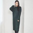 Round-Neck Ribbed Knit Dress 1596