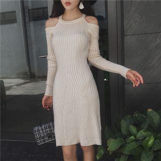 Cold Shoulder Rib Knit Dress 1062554522