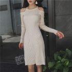 Cold Shoulder Rib Knit Dress 1596