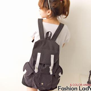 Buy Fashion Lady Polka Dot Canvas Backpack 1022887369