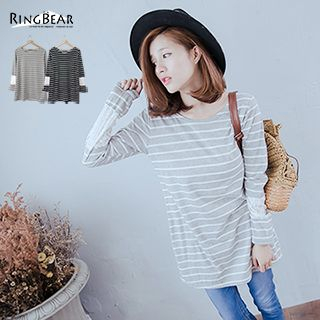 Lace Panel Long Sleeve Striped Tee 1047517380