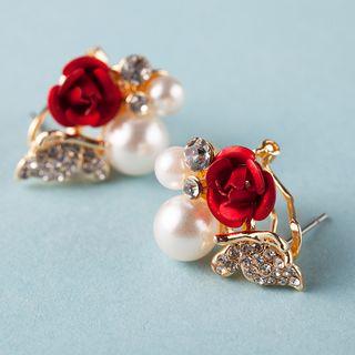 Image of Bridal Flower Faux Pearl Earrings