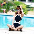 Color-Block Cutout Swimsuit 1596