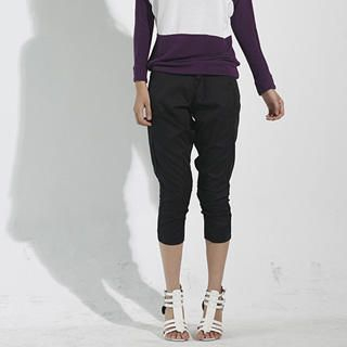 Buy Mooiee Cropped Skinny Pants with Detachable Suspender 1021199217
