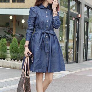 Long-Sleeve Cutout Shoulder Dress 1057602457