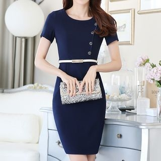 Button Detail Short-Sleeve Sheath Dress 1053302487