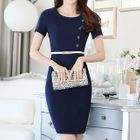 Button Detail Short-Sleeve Sheath Dress 1596