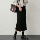 Band-Waist Ribbed Long Skirt 1596