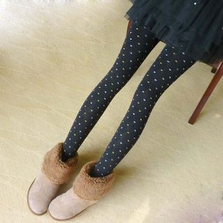 Heart Print Stirrup Tights 1058370815
