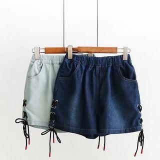 Lace Up Denim Shorts 1066546275