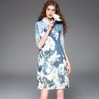 Elbow-Sleeve Printed Cheongsam 1596