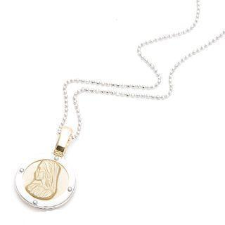 Image For 18K White & Yellow Gold Religious Medal