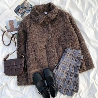 Fluffy Button-up Jacket Coffee - One Size