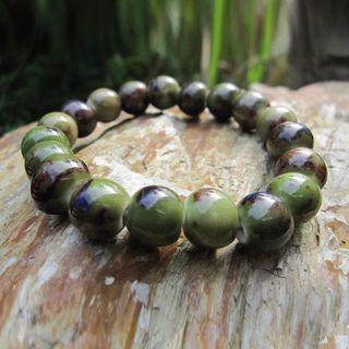 Image of Ceramic Bead Bracelet Green - One Size