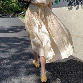 Image of High Waist Crinkled Maxi Skirt