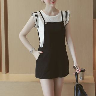 Set: Contrast Trim Tank Top + Spaghetti Strap Pinafore Playsuit 1051583739