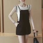 Set: Contrast Trim Tank Top + Spaghetti Strap Pinafore Playsuit 1596