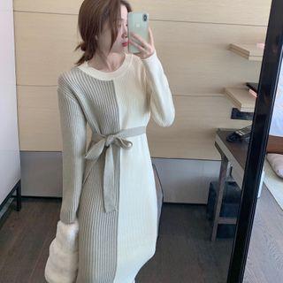 Two-tone Tie-waist Knit Midi Dress