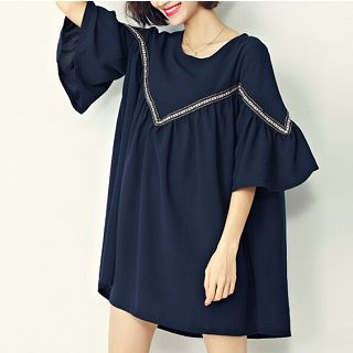 Elbow-Sleeve Paneled Long Top Blue - One Size 1050179674