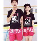 Set: Print Short Sleeve Couple Matching T-Shirt + Print Shorts от YesStyle.com INT