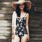 Set: Crochet Beach Cover-Up + Floral Swimsuit 1596