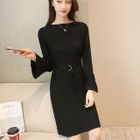Long-Sleeve Tie-Waist Mini Dress 1596