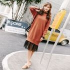 Set: Plain Long Sleeve Knit Dress + Long Sleeve Lace Dress 1596