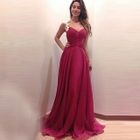 Lace Trim Sleeveless Evening Gown 1596