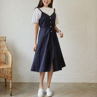 Sleeveless Button-Front Jumper Dress 1065996944