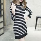 Long-Sleeve Frilled-Trim Striped Knit Dress 1596
