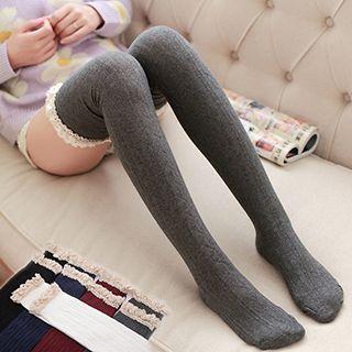 Lace-Trim Knit Knee Socks 1049636254