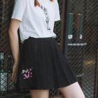 Embroidered Pleated Mini Skirt 1596