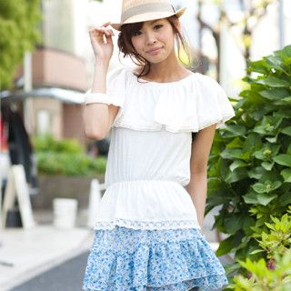 Picture of ageha@shibuya Cape-Front Lace-Trim Off-Shoulder Top Off-White - One Size 1022589682 (ageha@shibuya Tees, Womens Tees, Japan Tees, Causal Tops)