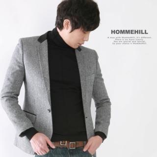 Buy HOMMEHILL Paneled Collar Herringbone Wool-Blended Jacket 1021631849
