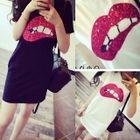 Sequined Lip Short-Sleeve T-Shirt Dress 1596