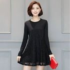 Long-Sleeve Lace Panel Dress 1596