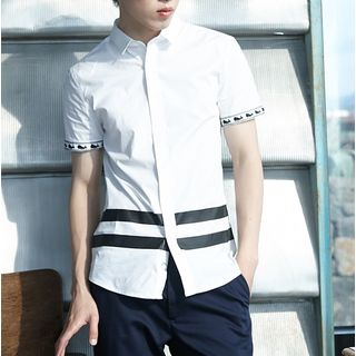Image of Whale Print Trim Short Sleeve Shirt