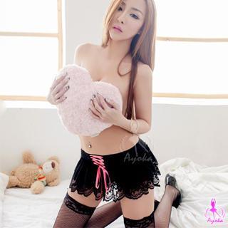 Lingerie Set: Lace Drawstring Skirt + String + Stockings Black & Pink - One Size