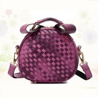 Faux-Leather Woven Crossbody Bag