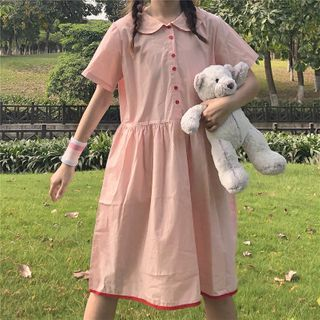 Image of Collared Short-Sleeve A-Line Dress Pink - One Size