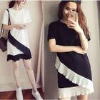 Color Panel Ruffle Trim Short Sleeve Dress 1596