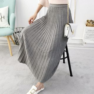 Image of Maxi Accordion Pleated Knit Skirt