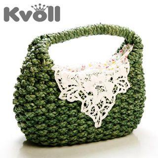 Buy Kvoll Lace-Detail Straw Handbag 1022571791
