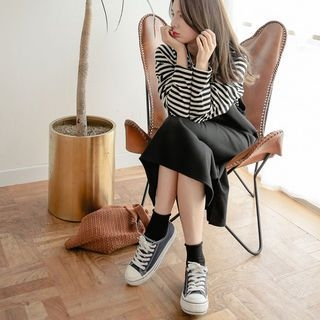 Set: Stripe T-Shirt + Midi Pinafore Dress 1062505727