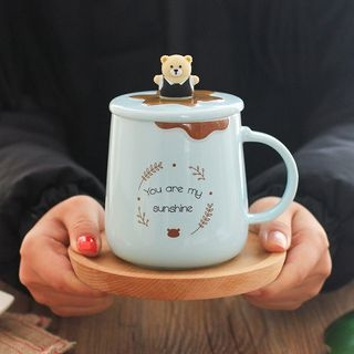 Set: Cartoon Cup + Lid + Spoon 1065188060
