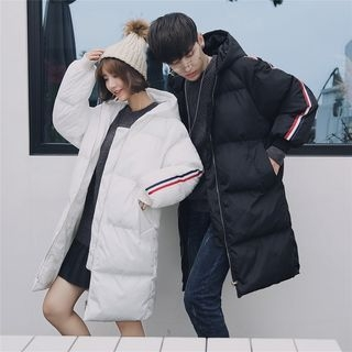 Couple Matching Color Block Padded Zip-Up Long Coat